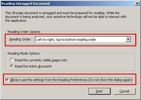 صورة للنافذة الأولية عند فتح أي ملف توضخ خيار Set All Accessibility Options