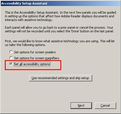 صورة الخطوة الأولى توضح اختيار Set All Accessibility Options وهو الخيار التلقائي